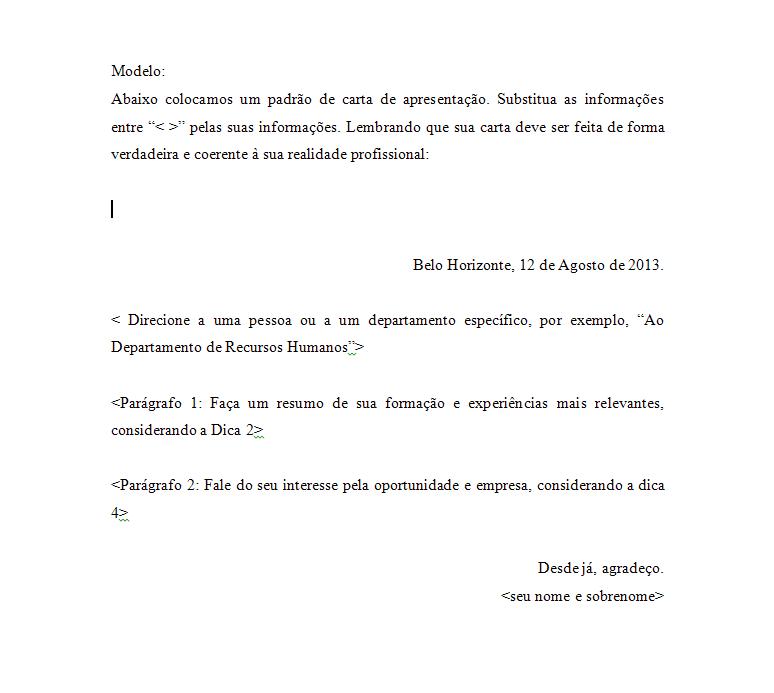 Carta apresentacao para curriculo